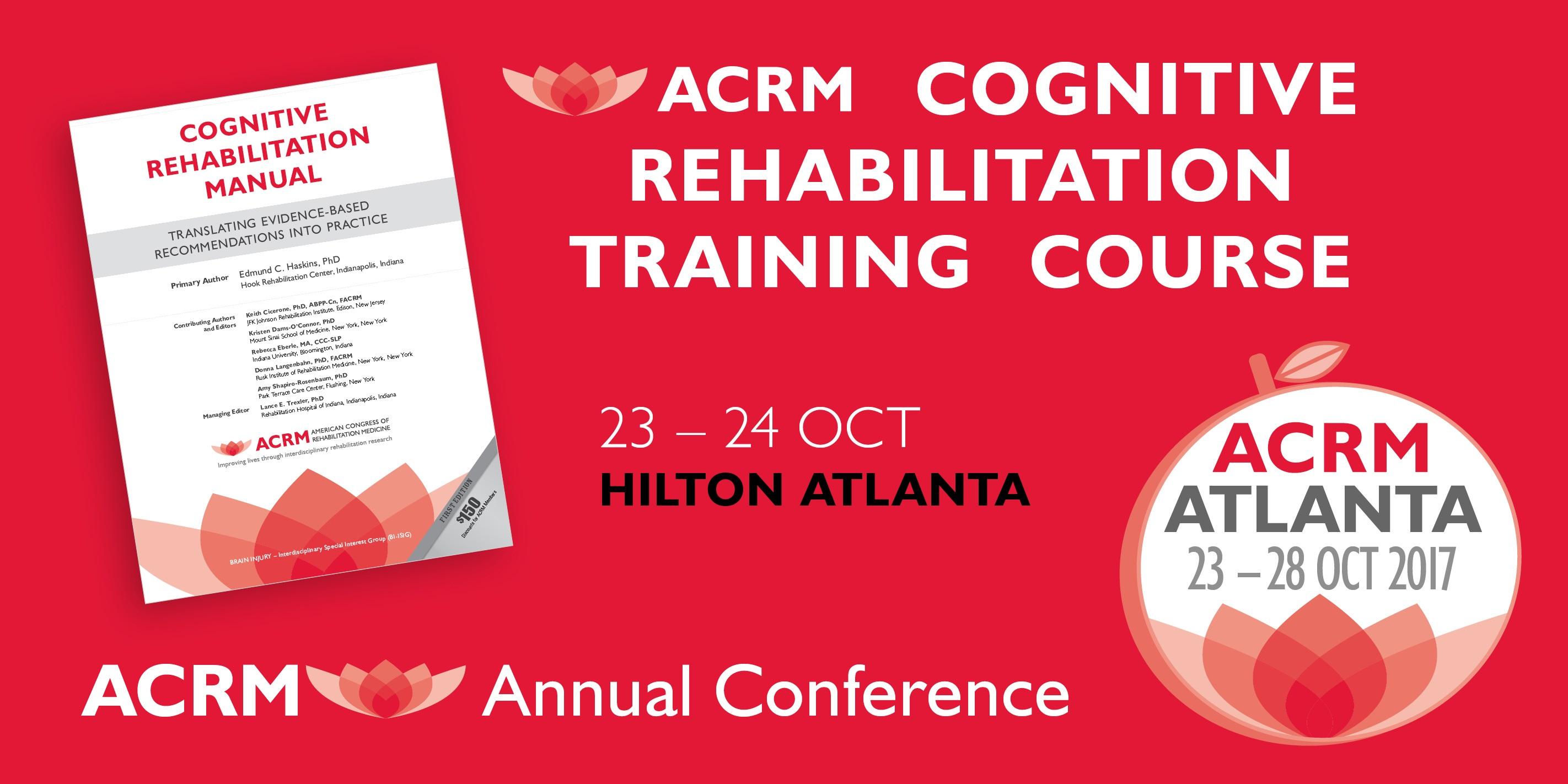 Cognitive Rehabilitation Training comes to Atlanta 23 - 24 Oct 2017