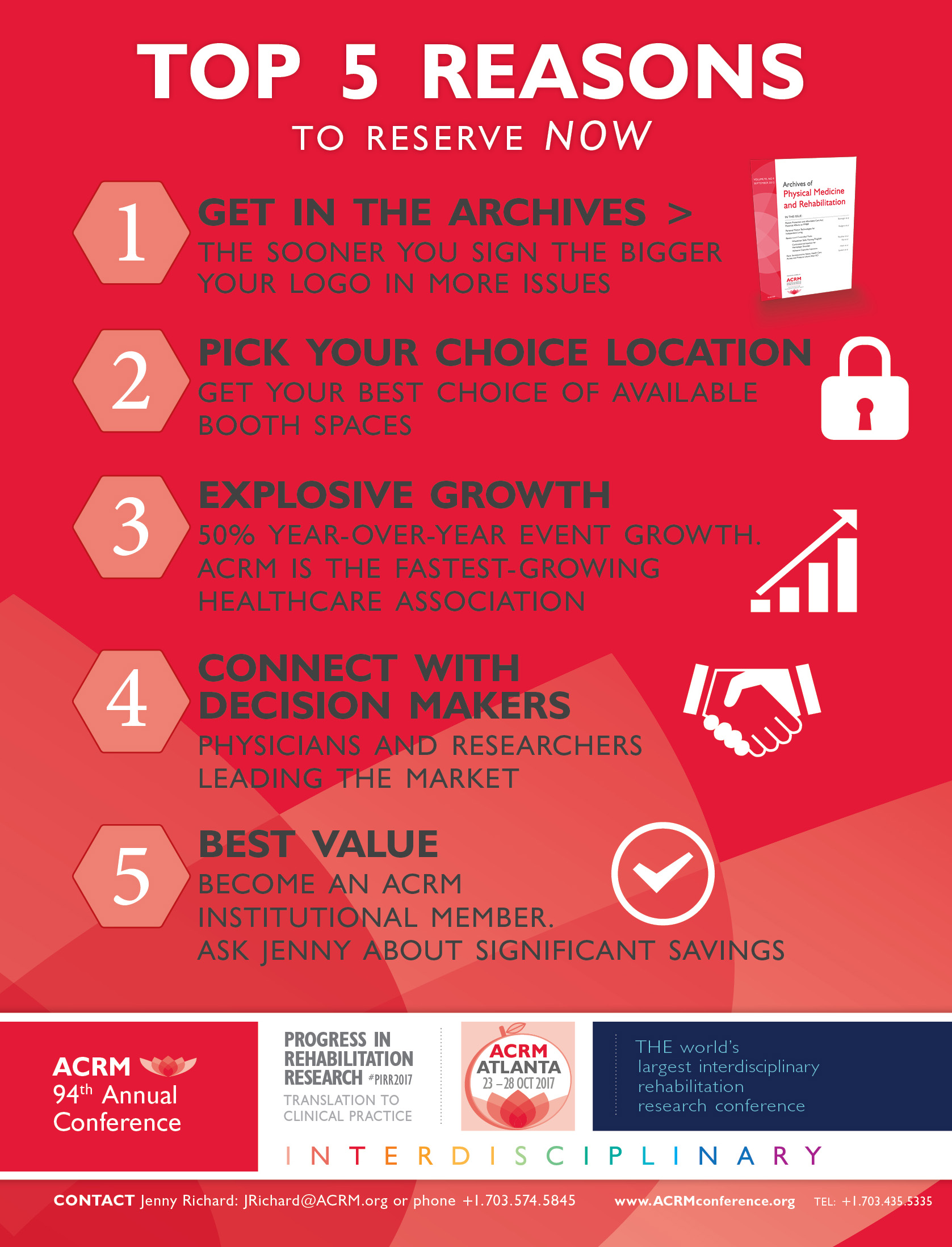 TOP 5 Reasons to reserve ACRM booth Now