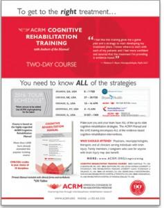 ACRM Cognitive Rehabilitation Training