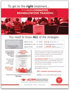 ACRM Cognitive Rehabilitation Training flyer thumbnail