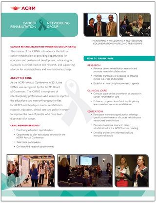 Click to view the ACRM Cancer Rehabilitation Networking Group brochure