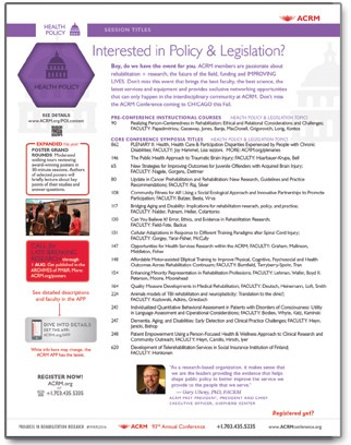 Click to View NONSTOP Content for Health/Disability Policy coming to the ACRM Annual Conference