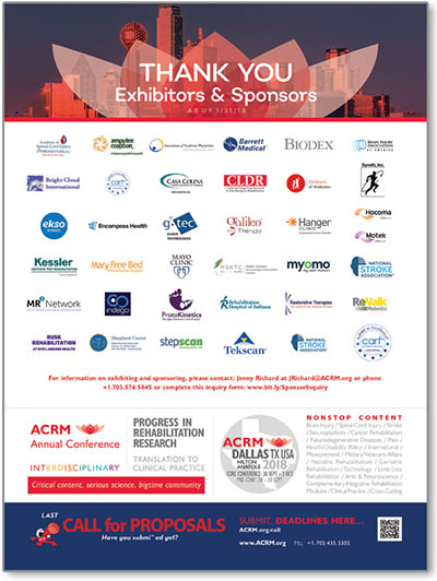 THANK YOU exhibitors & sponsors Ad 30Jan18 ACRM Annual Conference