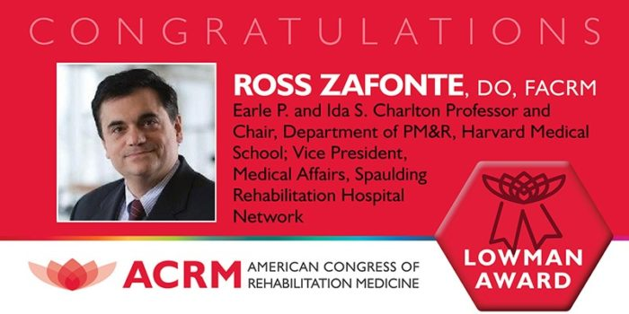ACRM Edward Lowman Award 2018 Recipient Ross Zafonte
