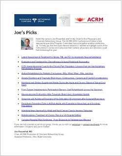 Joe Rosenthal's Instructional Course and Symposia picks for Physicians and Clinicians