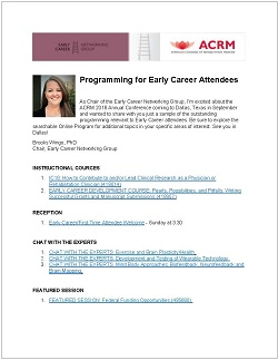 Early Career Programming Highlights