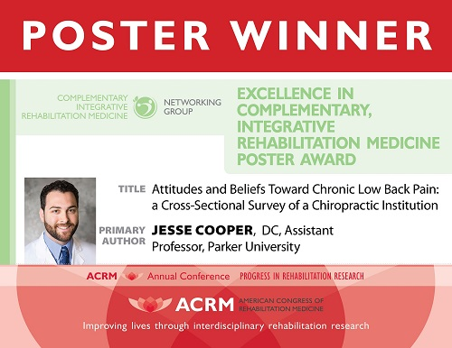 Jesse Cooper received the Excellence in Complementary, Integrative Rehabilitation Medicine Poster Award
