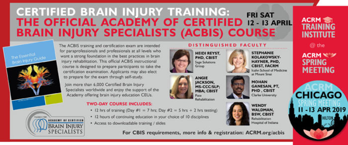 Certified Brain Injury Training: The Official Academy Of Certified Brain Injury Specialists (ACBIS) Course Badge Spring 2019