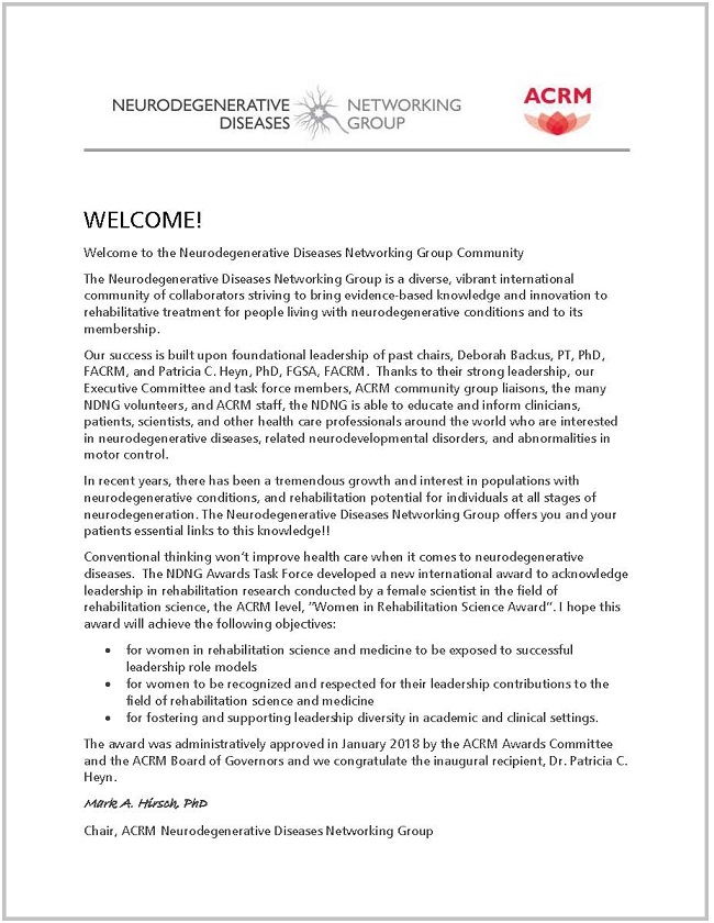Welcome Letter from NDNG Chair, Mark Hirsch