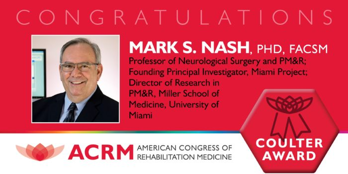 Mark Nash received the ACRM 2018 John Stanley Coulter Award