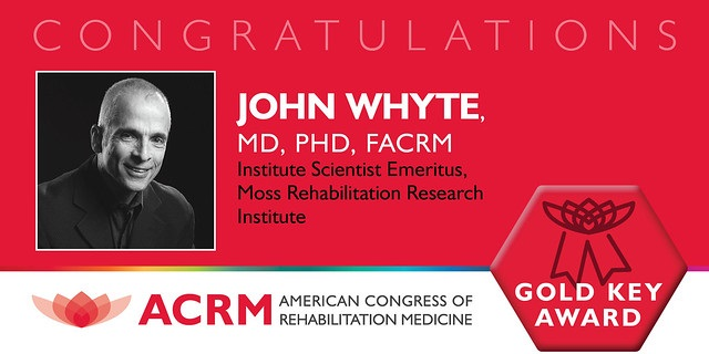John Whyte receives the ACRM 2019 Gold Key Award, the highest award given by ACRM.