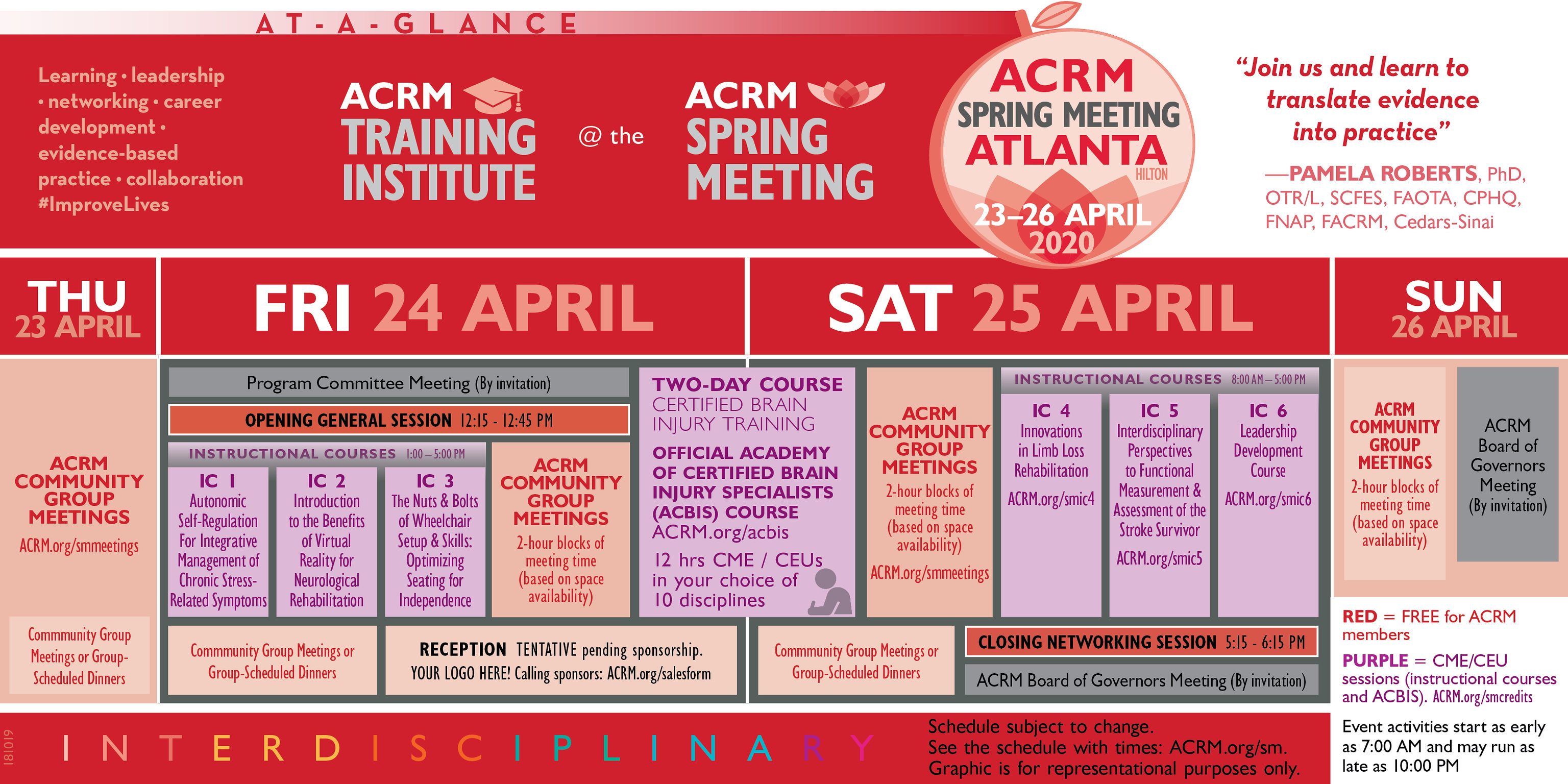 ACRM Training Institute at the Spring Meeting Program At-A-Glance