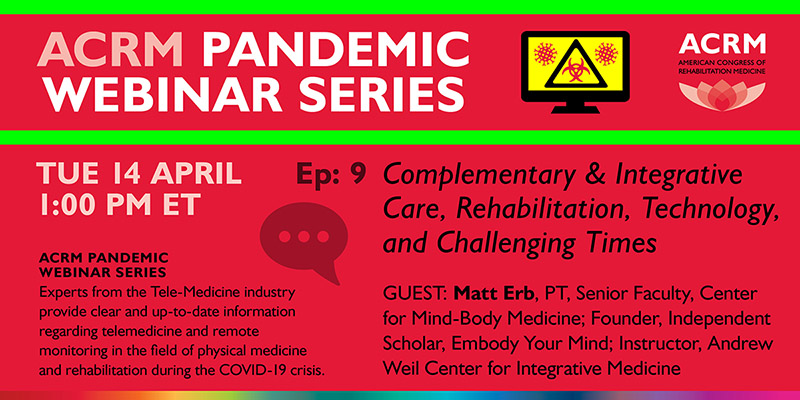 ACRM Pandemic Webinar Series TUE 14 APRIL Guest Matt Erb