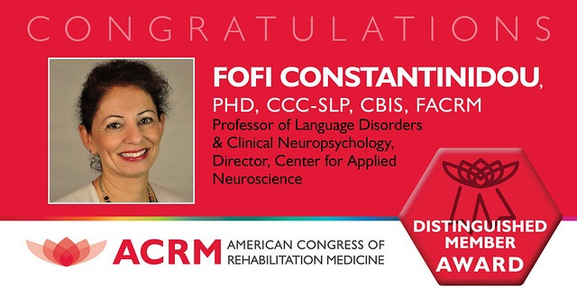 Fofi Constantinidou received the 2019 ACRM Distinguished Member Award