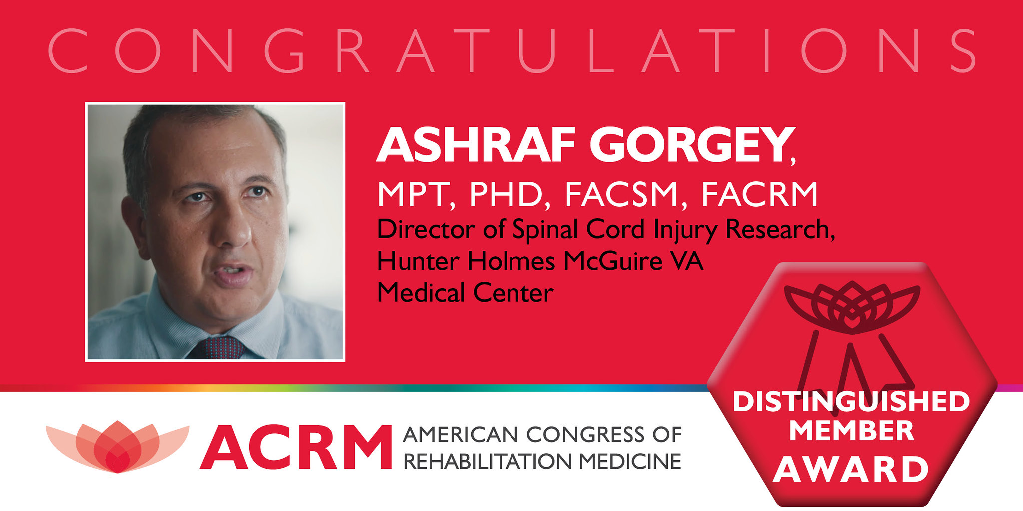Ashraf Gorgey is 2020 recipient of the ACRM Distinguised Member Award