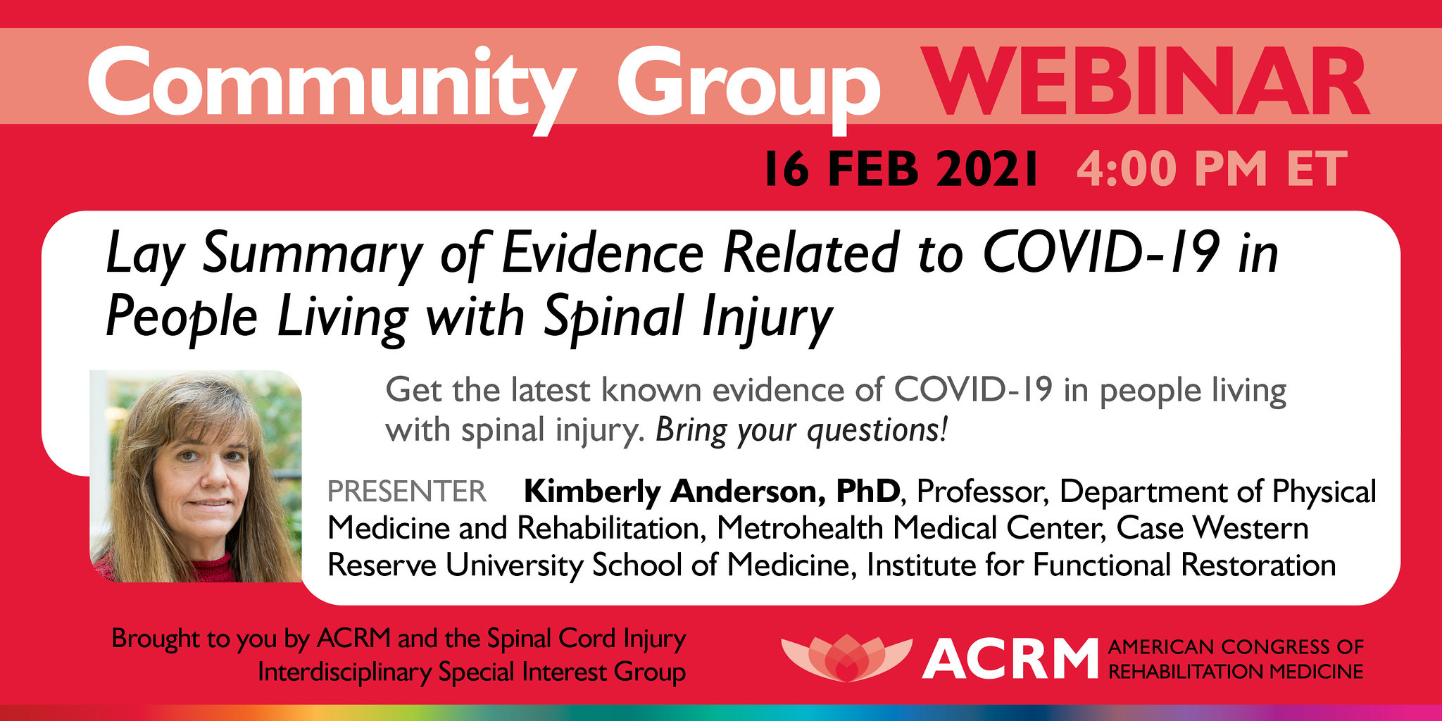 ACRM webinar Summary of Evidence Related to COVID-19 in people living with SCI image