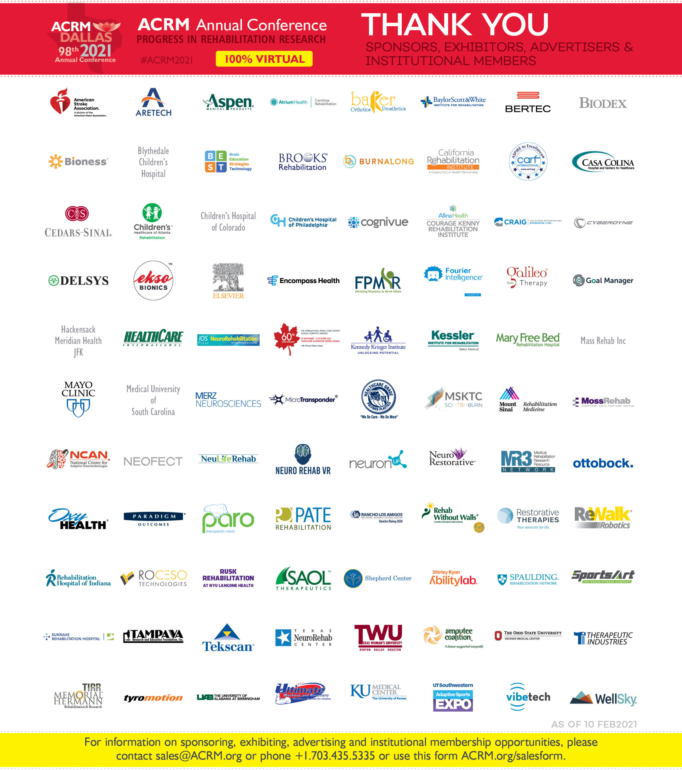 ACRM 2021 Sponsors, Exhibitors, Advertisers Thank You Footer image