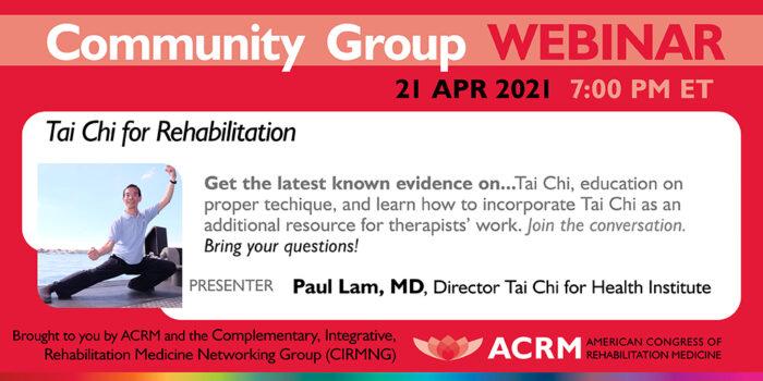 CIRM Webinar Tai Chi for Rehabilitation image