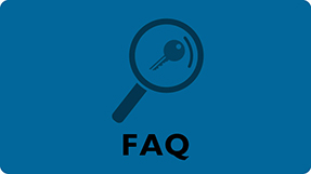 FAQ button. Links to frequently asked questions.