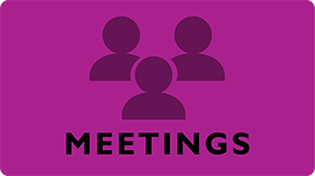 Meetings button. Links to information about community group meetings happening during the conference.