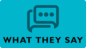 """""""What They Say"""" button. Links to testimonials from past attendees."""
