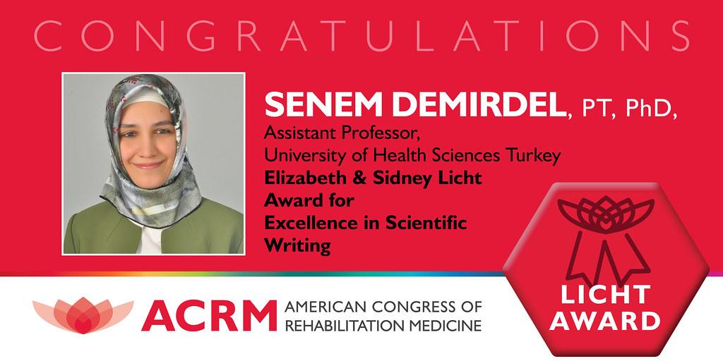 Dr. Senem Demirdel received the ACRM 2021 Licht Award image