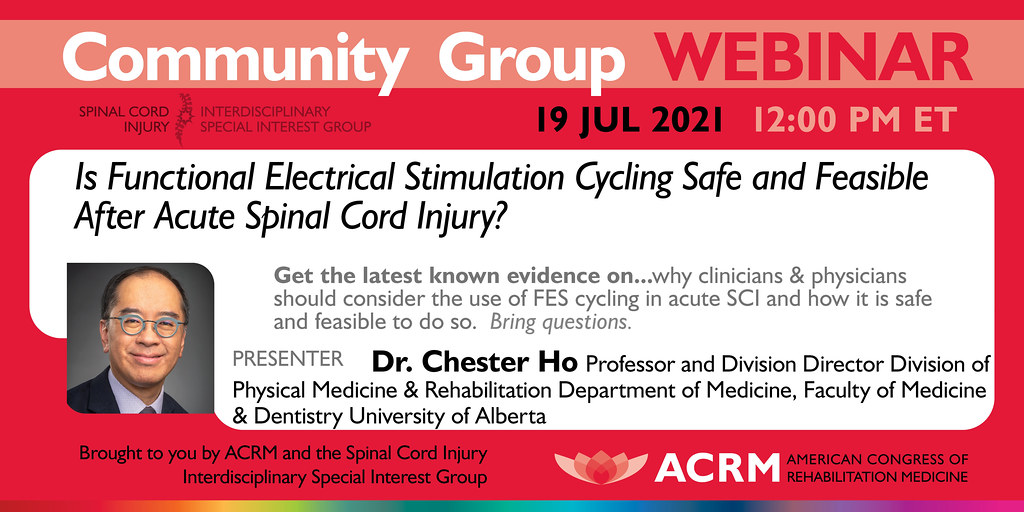 Spinal Cord Injury Group Webinar with guest speaker Chester Ho - image