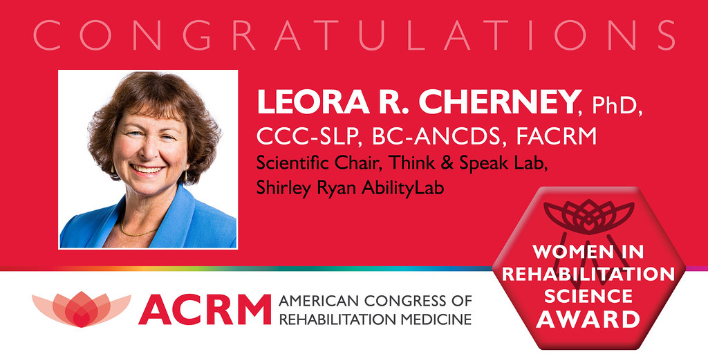 Leora Cherney received the ACRM Women in Rehabilitation Science 2021 Award - image